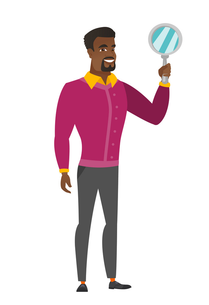 African business man holding hand mirror. Full length of business man looking at himself in a hand mirror. Business man with hand mirror. Vector flat design illustration isolated on white background.