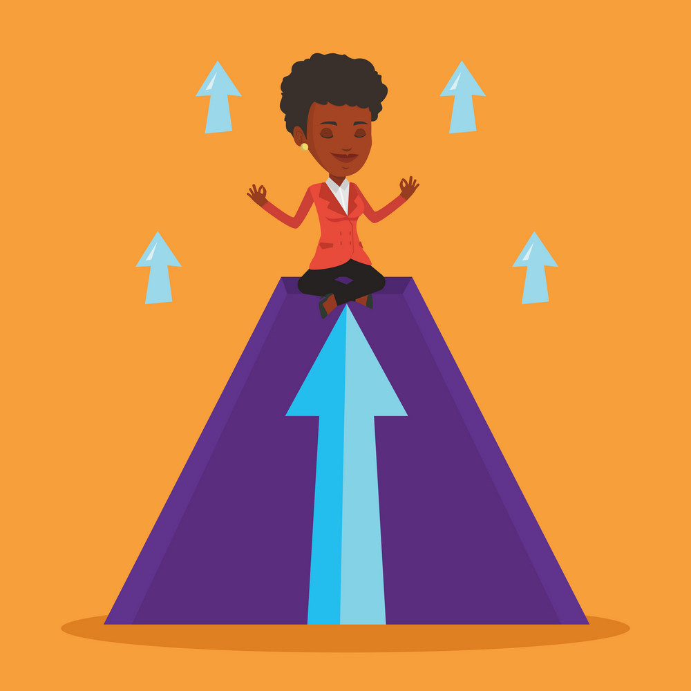 African business woman doing yoga on a mountain with arrow going up. Woman meditating in yoga lotus pose. Woman sitting in yoga lotus pose on mountain. Vector flat design illustration. Square layout