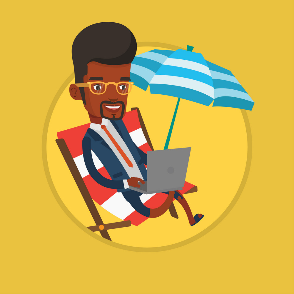 African businessman in suit working on beach. Businessman sitting in chaise lounge under beach umbrella and working on a laptop. Vector flat design illustration in the circle isolated on background.