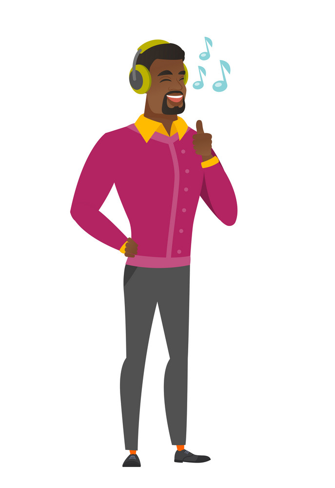 African businessman listening to music in headphones. Full length of businessman with his eyes closed listening to music in headphones. Vector flat design illustration isolated on white background.