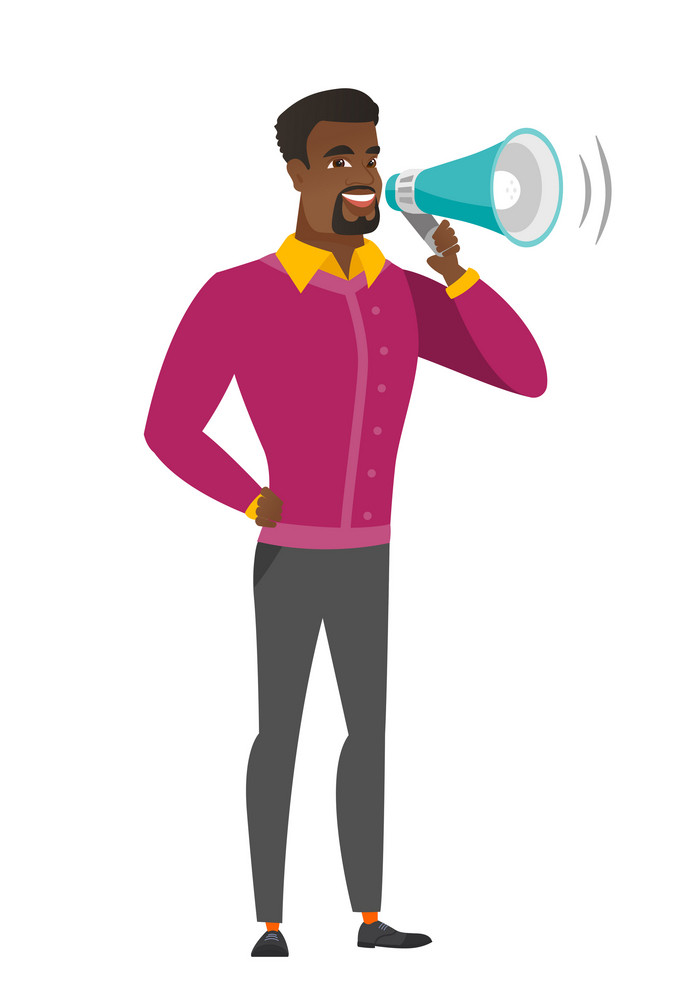 African businessman with a loudspeaker making an announcement. Full length of businessman making an announcement through a loudspeaker. Vector flat design illustration isolated on white background.