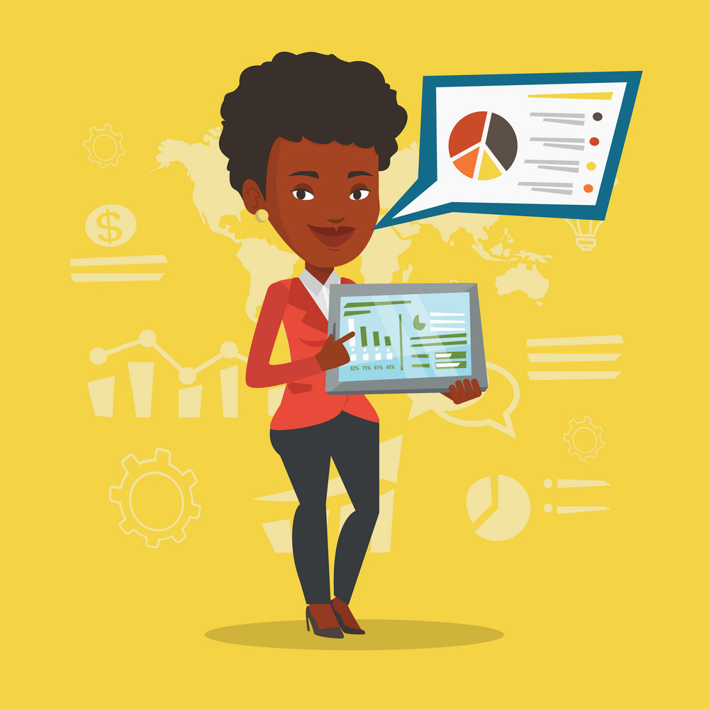 African businesswoman pointing at the charts on tablet computer screen. Businesswoman presenting report on tablet computer on the background of graphs. Vector flat design illustration. Square layout.