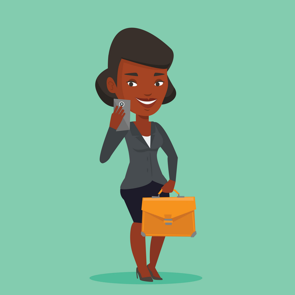 African businesswoman with briefcase making selfie. Business woman making selfie with cellphone. Business woman looking at smartphone and taking selfie. Vector flat design illustration. Square layout.