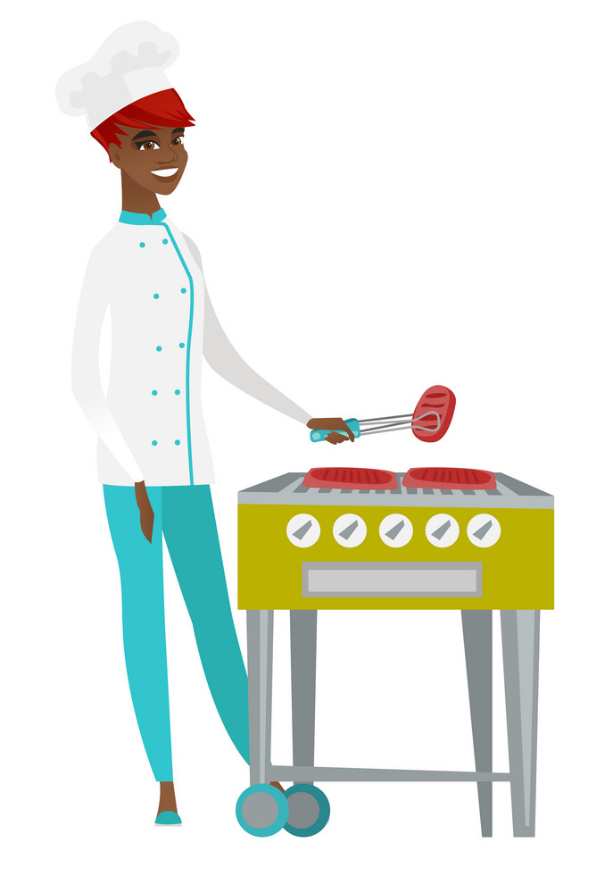 African chef cook cooking steak on gas barbecue grill. Chef cook preparing steak on gas barbecue grill. Chef cook having outdoor barbecue. Vector flat design illustration isolated on white background.
