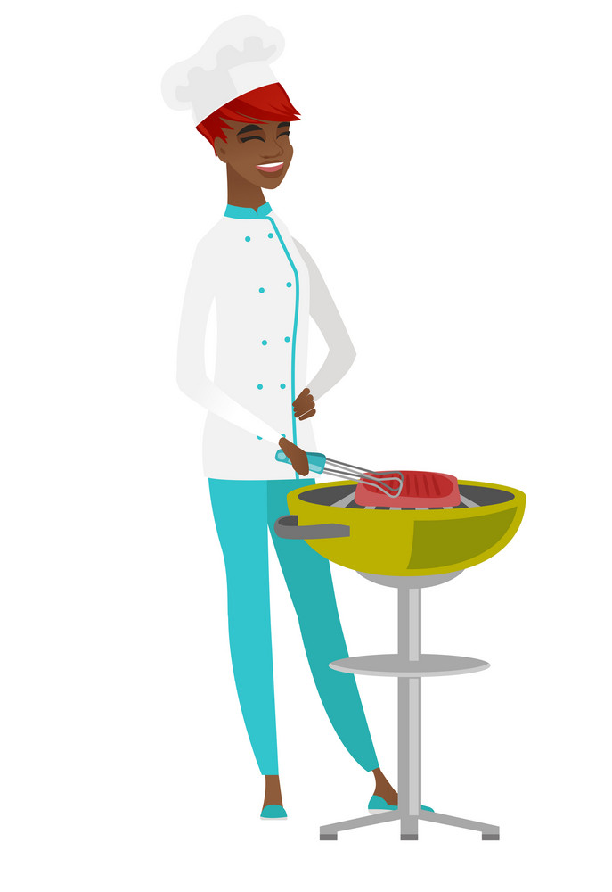 African chef cook cooking steak on the barbecue grill. Chef cook preparing steak on the barbecue grill. Chef cook having outdoor barbecue. Vector flat design illustration isolated on white background.