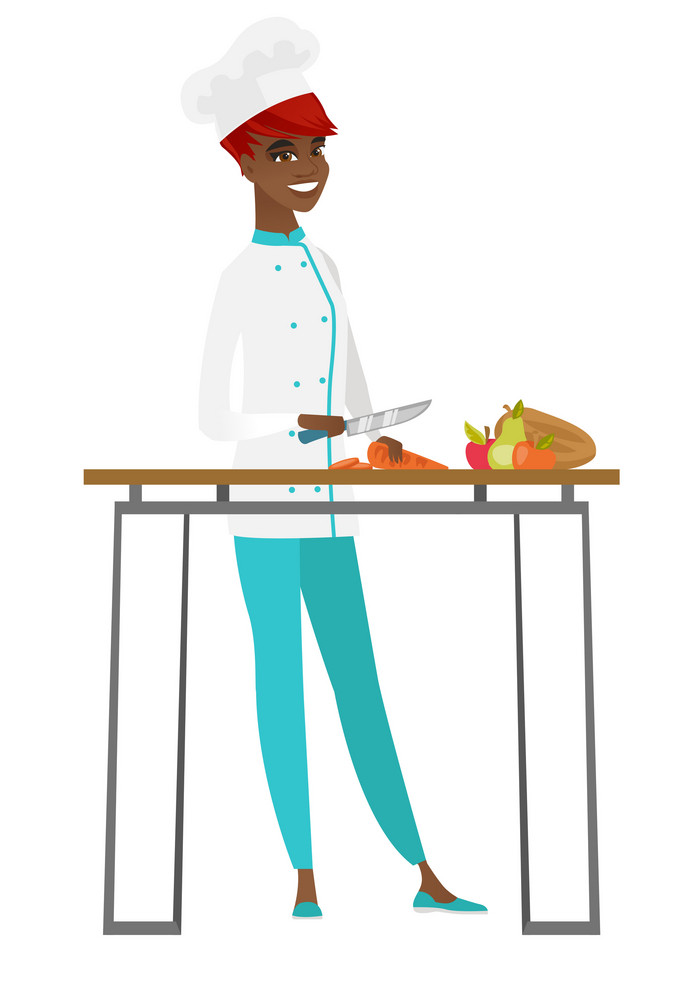African chef cook in uniform cutting carrot for vegetable dish. Chef cooking healthy vegetable dish. Chef cook preparing vegetable dish. Vector flat design illustration isolated on white background.
