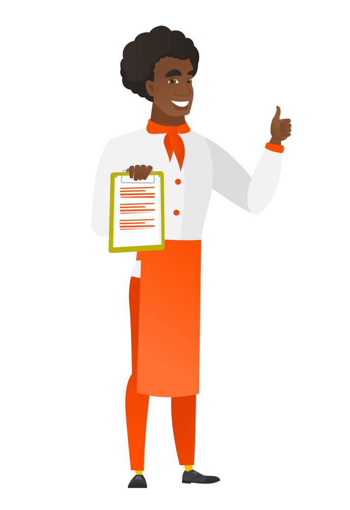 African chef cook in uniform holding clipboard and giving thumb up. Full length of chef cook with clipboard. Chef cook showing clipboard. Vector flat design illustration isolated on white background.
