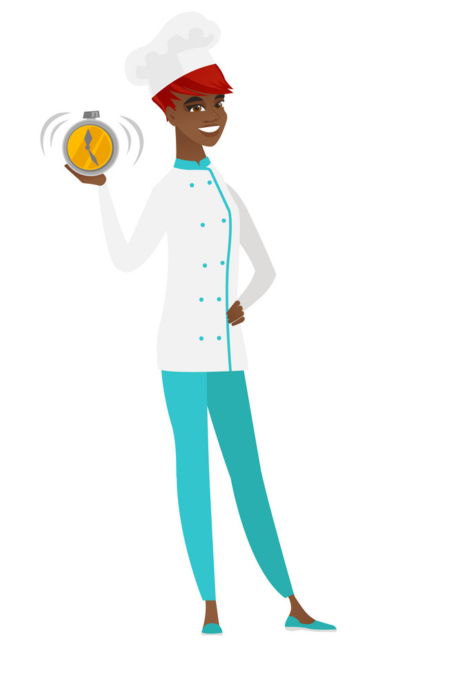 African chef cook in uniform showing ringing alarm clock. Full length of chef cook with alarm clock. Happy chef cook holding alarm clock. Vector flat design illustration isolated on white background.