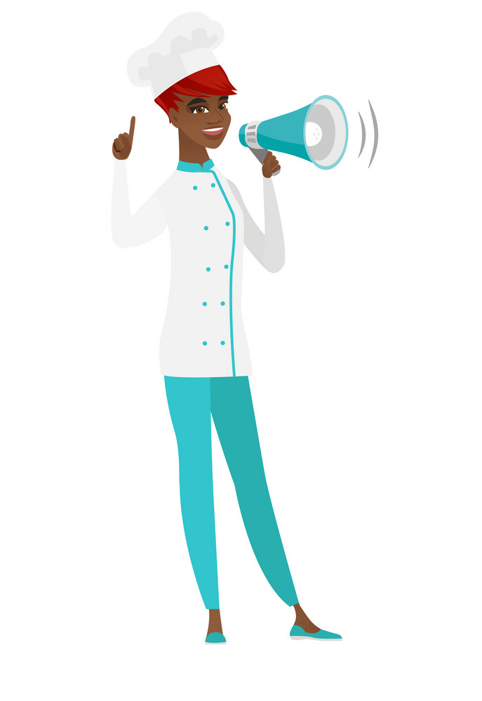 African chef cook with a megaphone making an announcement. Chef cook making an announcement through a megaphone and pointing finger up. Vector flat design illustration isolated on white background.