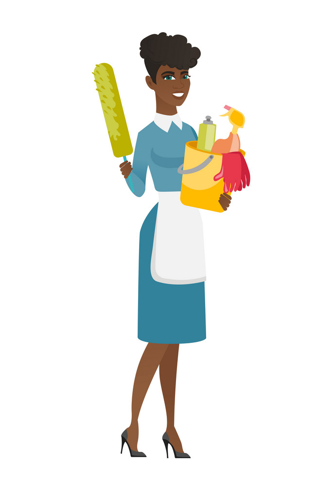 African cleaner holding bucket full of cleaning equipment. Full length of professional cleaner with bucket with cleaning supplies in hands. Vector flat design illustration isolated on white background