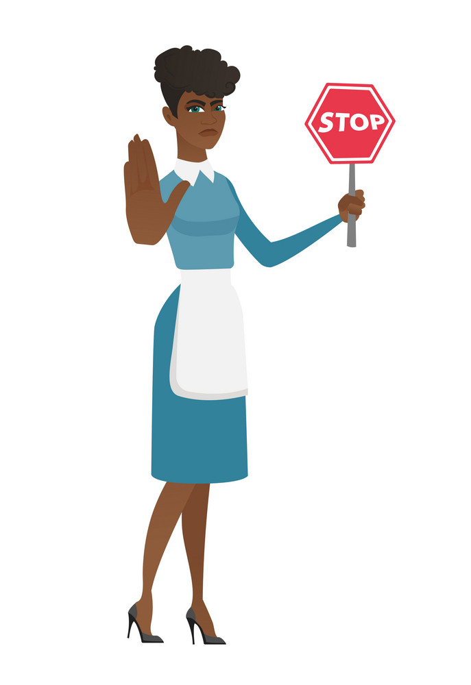 African cleaner in uniform showing stop road sign. Full length of cleaner holding stop road sign. Serious cleaner with stop road sign. Vector flat design illustration isolated on white background.