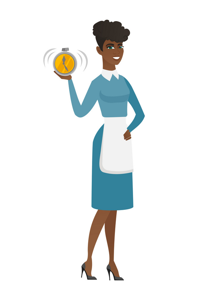 African cleaner showing ringing alarm clock. Full length of young smiling cleaner with alarm clock. Cleaner in uniform holding alarm clock. Vector flat design illustration isolated on white background