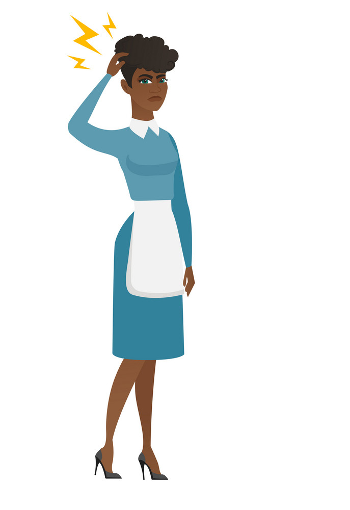 African cleaner with lightning over head. Full length of young cleaner with lightning. Furious cleaner in uniform standing under lightning. Vector flat design illustration isolated on white background