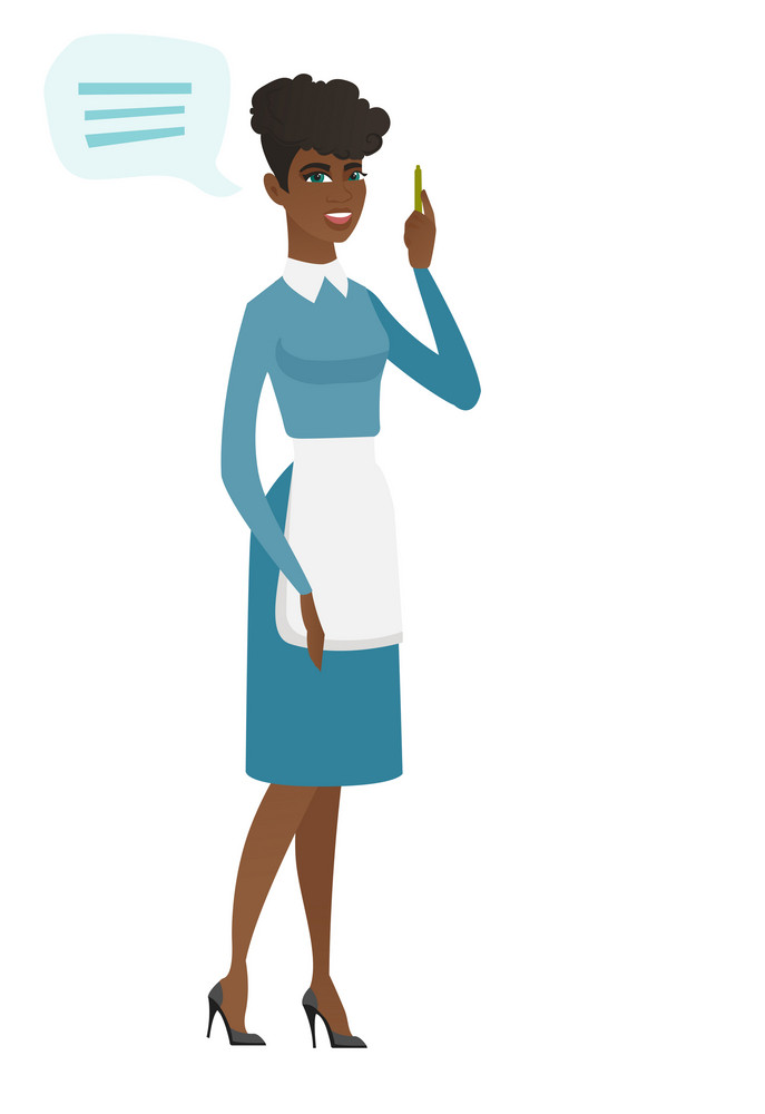 African cleaner with speech bubble. Full length of young cleaner cleaner giving a speech. Cleaner with speech bubble coming out of head. Vector flat design illustration isolated on white background.
