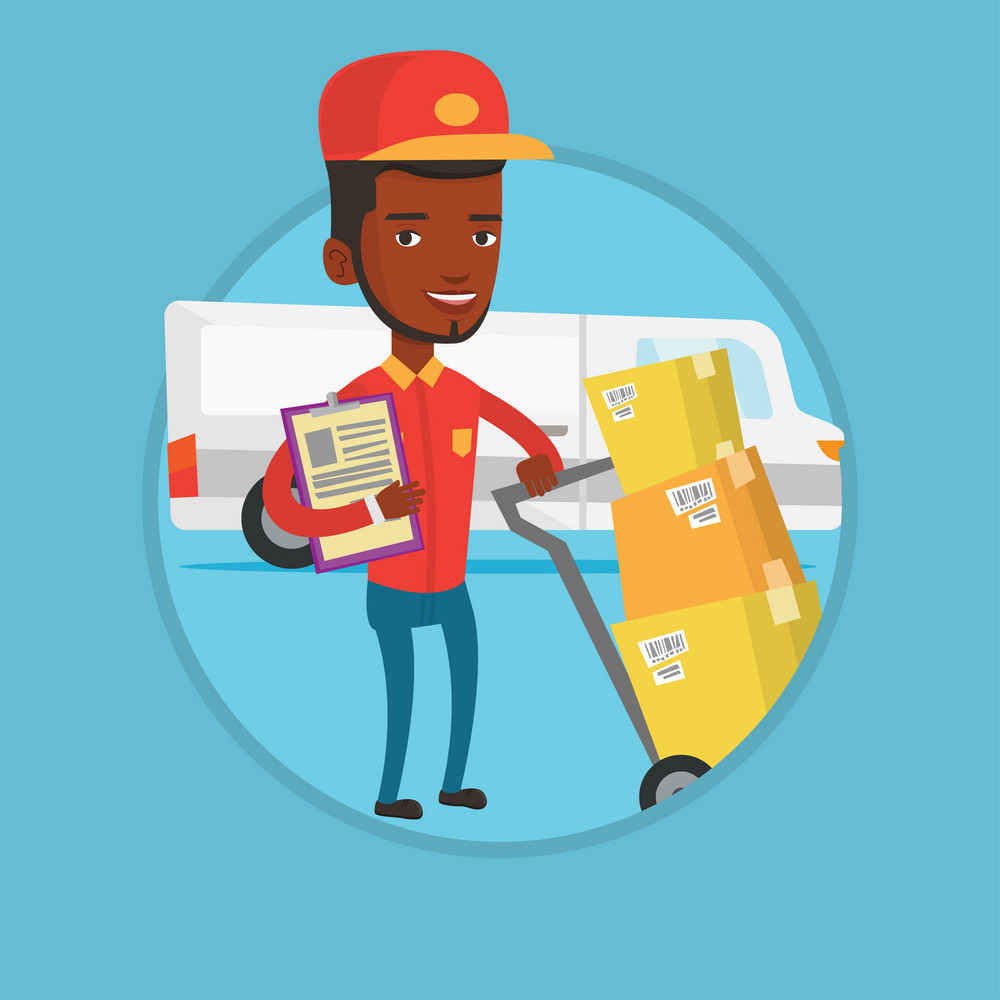 African delivery man with cardboard boxes on troley. Delivery man with clipboard. Delivery man standing in front of delivery van. Vector flat design illustration in the circle isolated on background