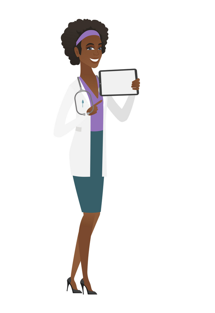 African doctor in medical gown holding tablet computer. Full length of doctor pointing at tablet computer. Doctor with tablet computer. Vector flat design illustration isolated on white background.