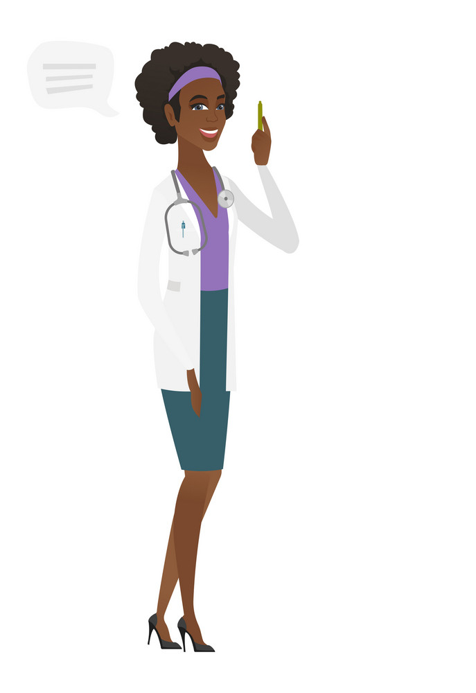 African doctor with speech bubble. Doctor in medical gown giving a speech on conference. Doctor with speech bubble coming out of her head. Vector flat design illustration isolated on white background.