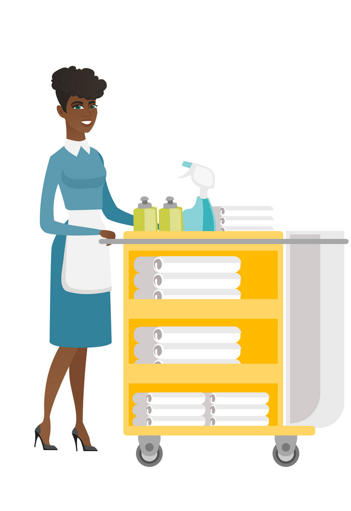 African female chambermaid pushing cart with bed clothes. Full length of young chambermaid with trolley with linen. Hotel room service. Vector flat design illustration isolated on white background.