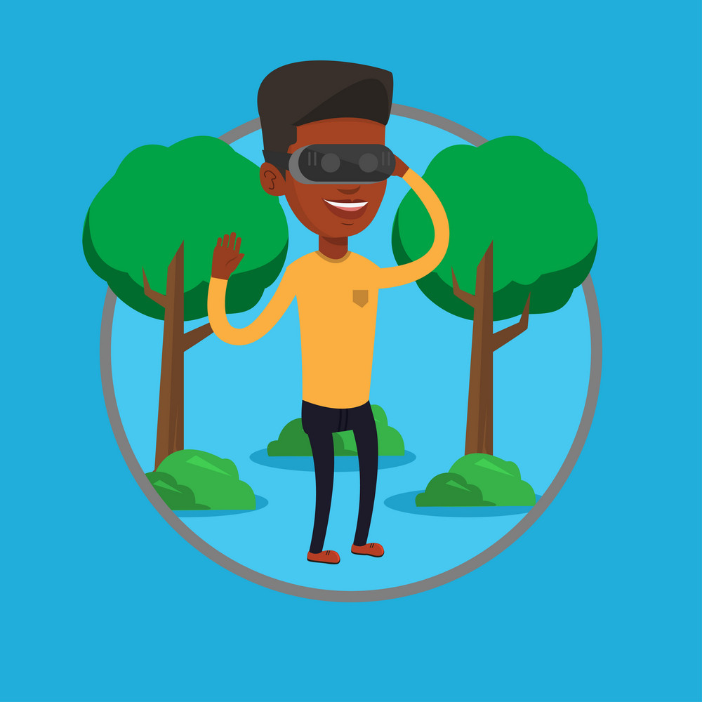 African gamer wearing virtual reality headset in the park. Man using virtual reality glasses and playing videogame in the park. Vector flat design illustration in the circle isolated on background.