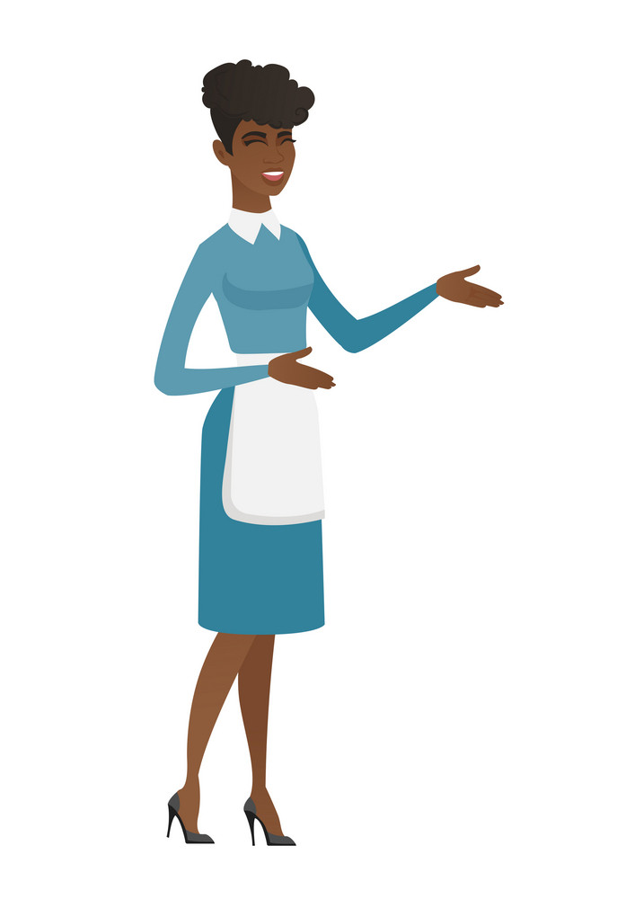 African happy cleaner in uniform gesturing. Full length of young female cleaner gesturing with her hands. Cleaner laughing and gesturing. Vector flat design illustration isolated on white background.