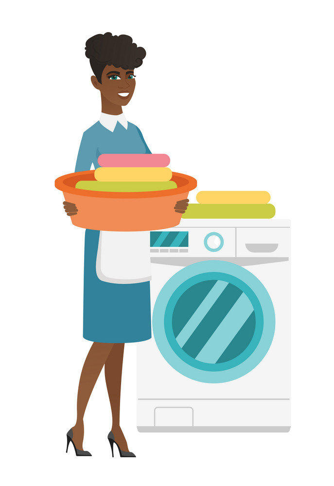 African housewife using washing machine at home laundry. Full length of young happy housewife loading laundry washing machine with clothes. Vector flat design illustration isolated on white background