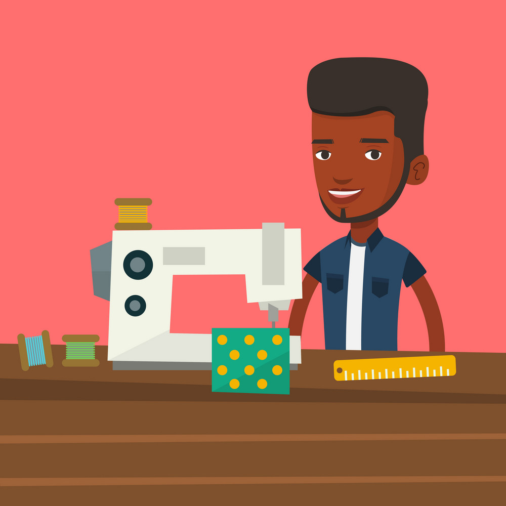 African male seamstress working in cloth factory. Male seamstress sewing on an industrial sewing machine. Seamstress using sewing machine at workshop. Vector flat design illustration. Square layout.