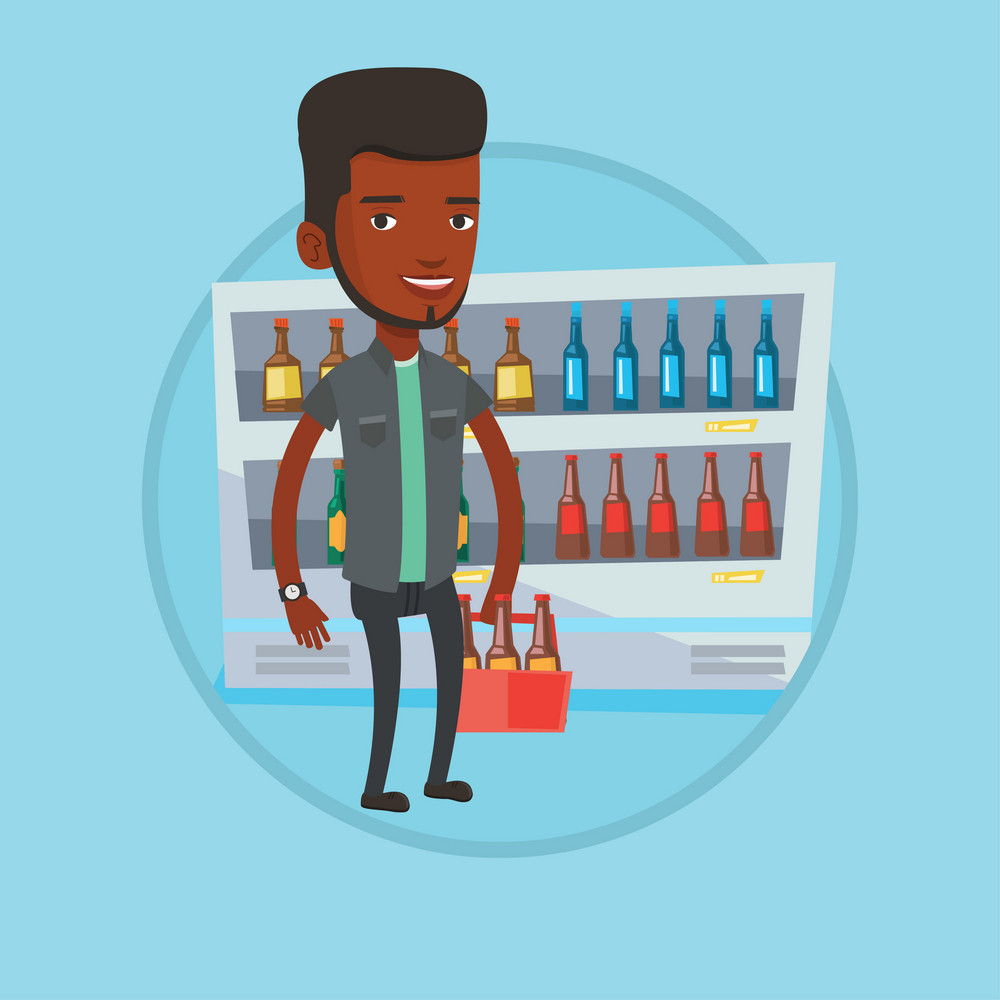 African man bying beer. Man standing in alcohol store with pack of beer on the background of refrigerator with bottles of beer. Vector flat design illustration in the circle isolated on background.