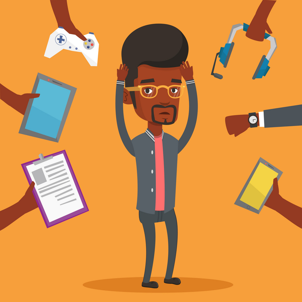 African man clutching head and many hands with modern gadgets around him. Man in despair surrounded with gadgets. Man using many electronic gadgets. Vector flat design illustration. Square layout.