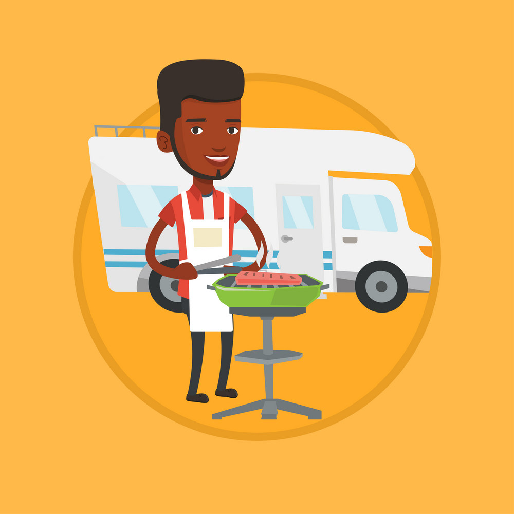 African man cooking steak on barbecue on the background of camper van. Man travelling by camper van and having barbecue party. Vector flat design illustration in the circle isolated on background.