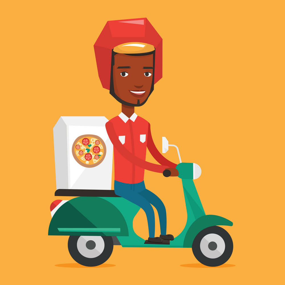 African man delivering pizza on scooter. Courier driving a motorbike and delivering pizza. Worker of delivery service of pizza. Concept of food delivery. Vector flat design illustration. Square layout