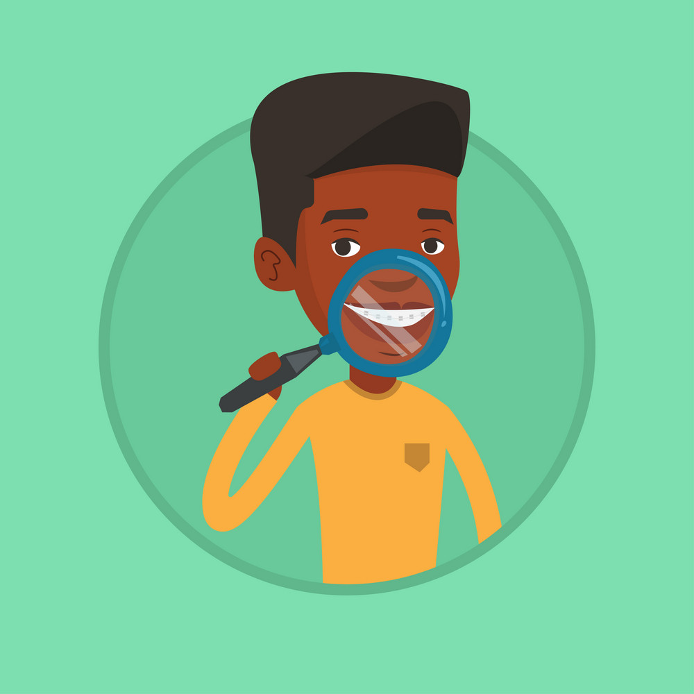 African man examining his teeth with magnifier. Man holding a magnifying glass in front of his teeth. Concept of teeth examining. Vector flat design illustration in the circle isolated on background.