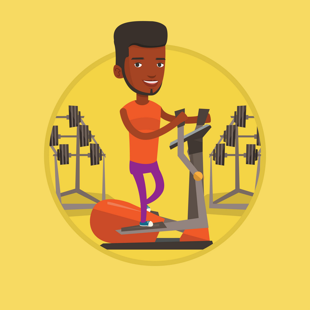 African man exercising on elliptical trainer. Man working out on elliptical trainer in the gym. Man using elliptical trainer. Vector flat design illustration in the circle isolated on background.