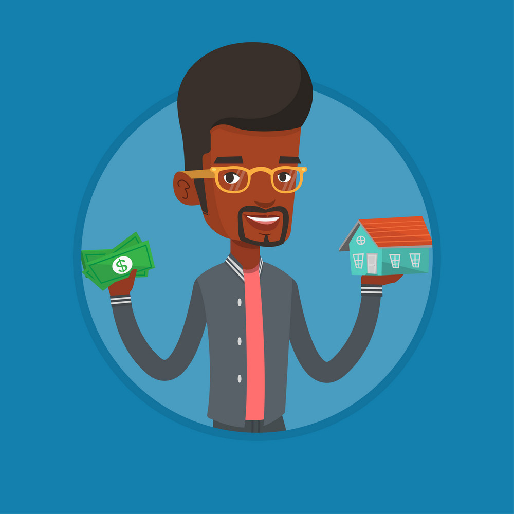African man holding money and model of house. Man having loan for house. Man got loan for buying a house. Real estate loan concept. Vector flat design illustration in the circle isolated on background