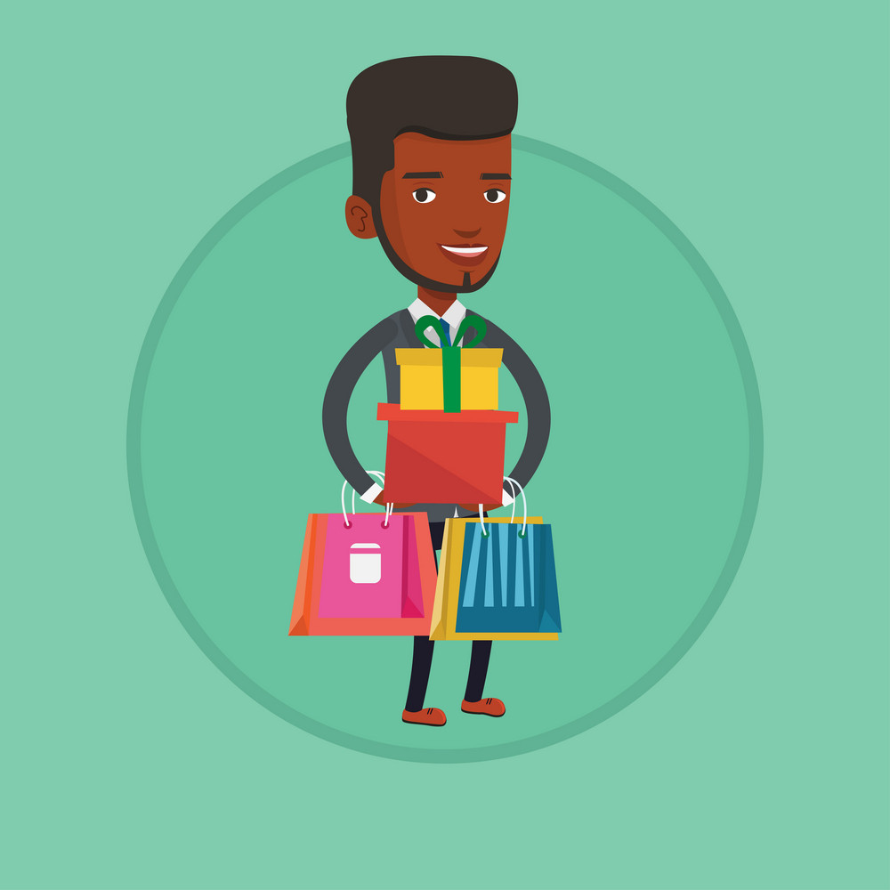 African man holding shopping bags and gift boxes. Man carrying shopping bags and boxes. Man standing with a lot of shopping bags. Vector flat design illustration in the circle isolated on background.