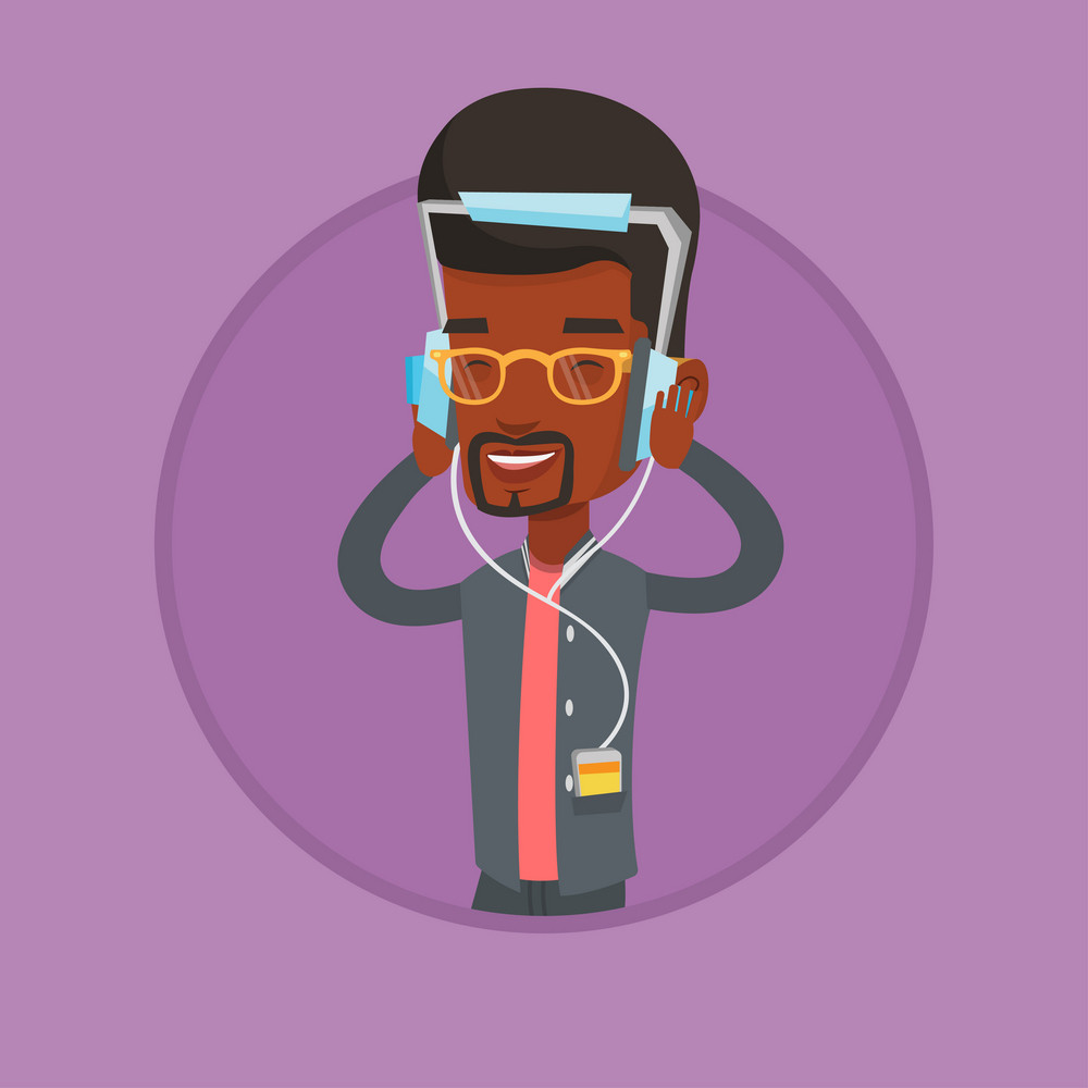 African man in headphones listening to music. Man listening to music on smartphone. Relaxed man with eyes closed enjoying music. Vector flat design illustration in the circle isolated on background.