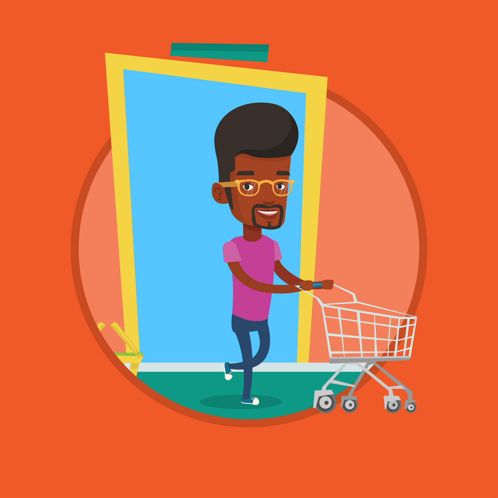 African man pushing supermarket trolley. Man rushing to shopping. Customer with an empty shopping trolley running into the shop. Vector flat design illustration in the circle isolated on background.