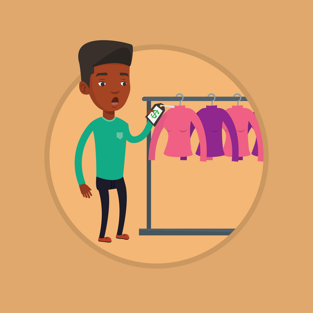 African man shocked by price tag in clothing store. Surprised man looking at price tag in clothing store. Man staring at price tag. Vector flat design illustration in the circle isolated on background