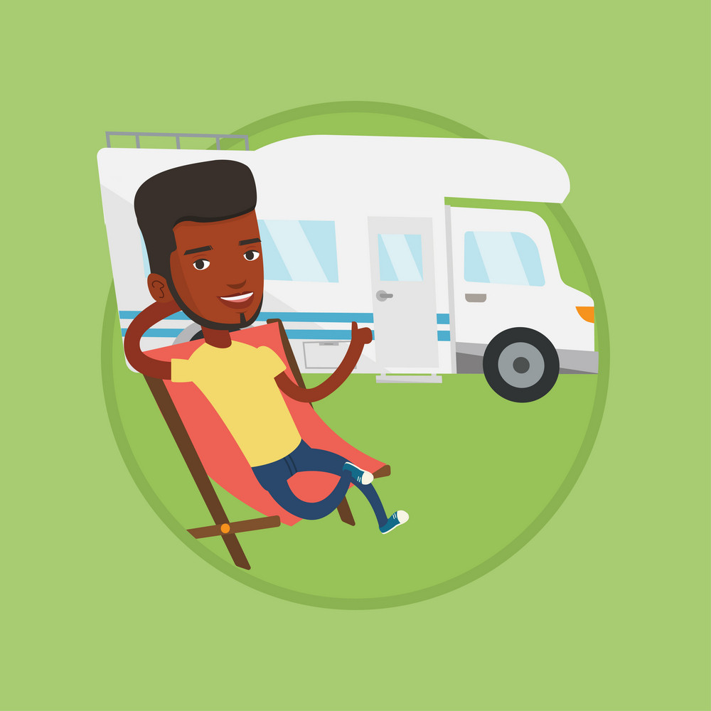 African man sitting in folding chair and giving thumb up on the background of camper van. Man enjoying vacation in camper van. Vector flat design illustration in the circle isolated on background.