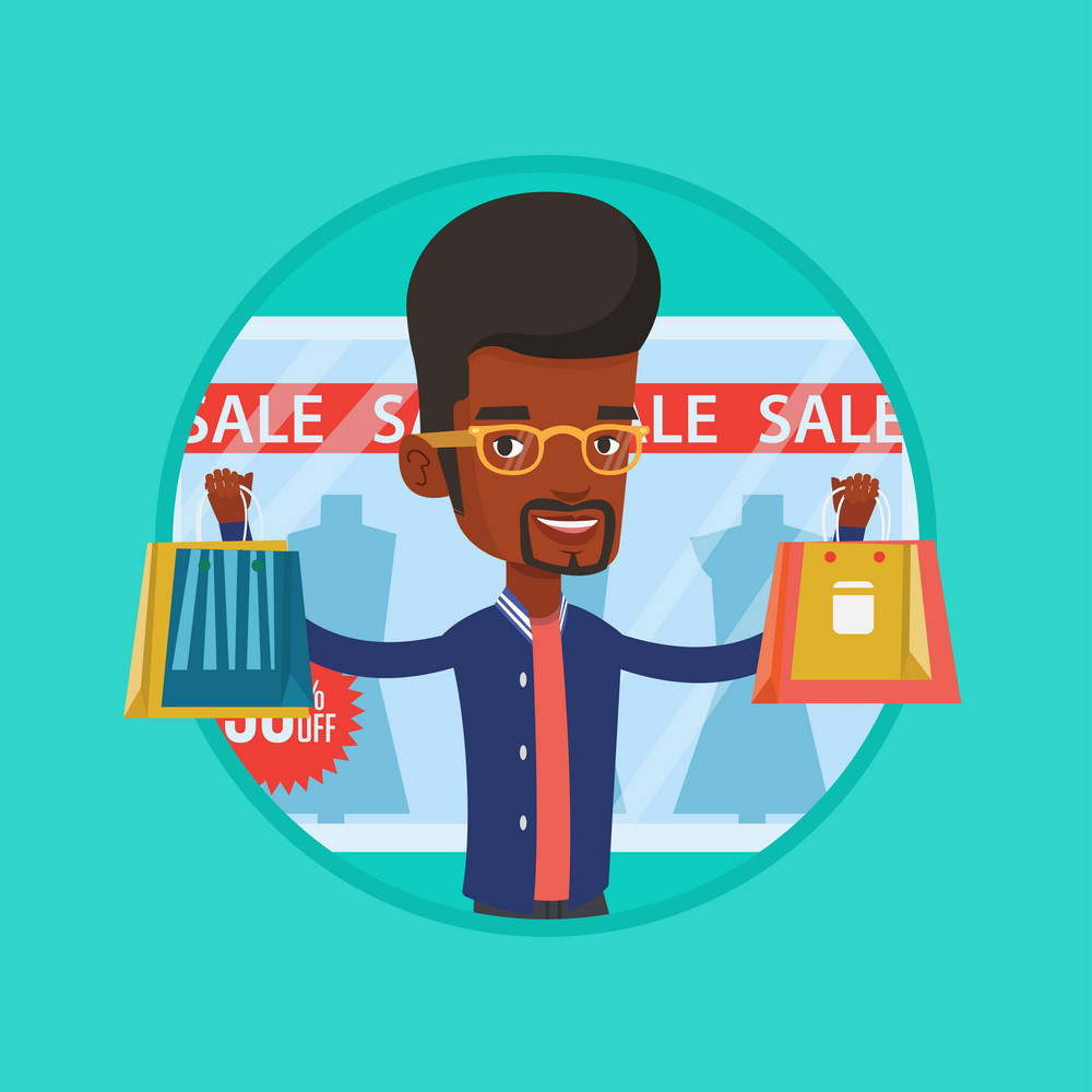 African man standing in front of clothes shop with sale sign. Man holding shopping bags in front of storefront with text sale. Vector flat design illustration in the circle isolated on background.