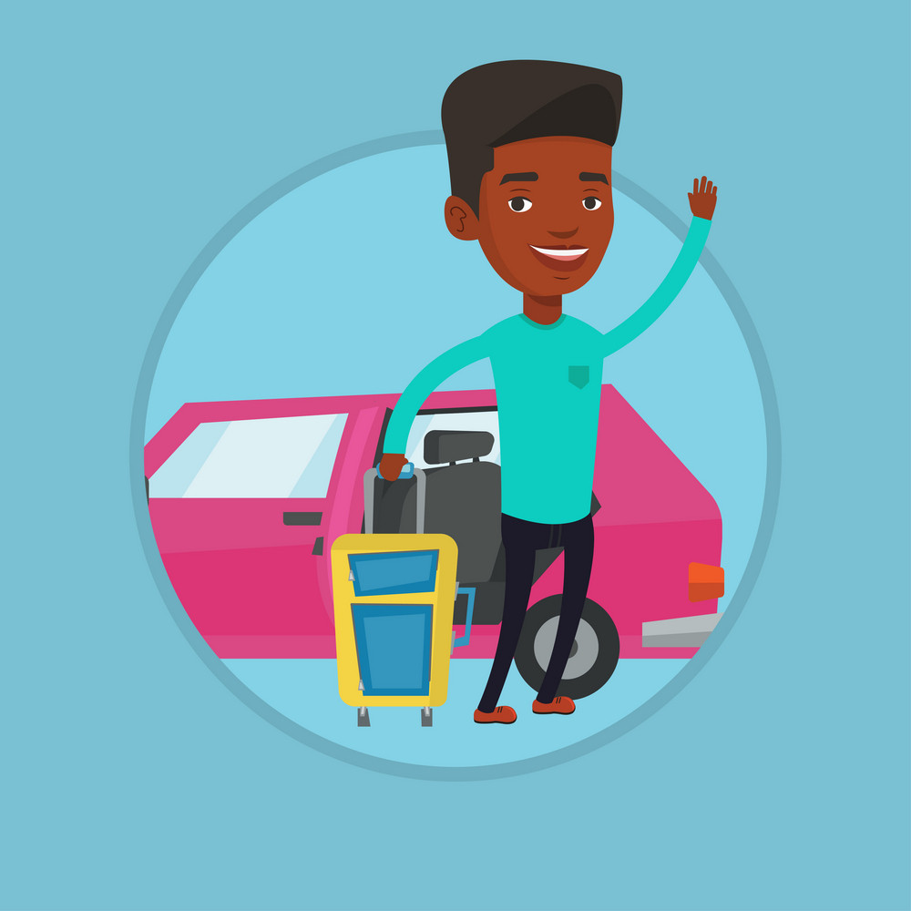 African man standing on the background of car. Man traveling by car. Man waving in front of car. Man going to vacation by car. Vector flat design illustration in the circle isolated on background.