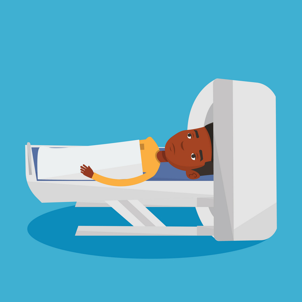 African man undergoes a magnetic resonance imaging scan test. Man having magnetic resonance imaging. Magnetic resonance imaging machine scanning patient. Vector flat design illustration. Square layout