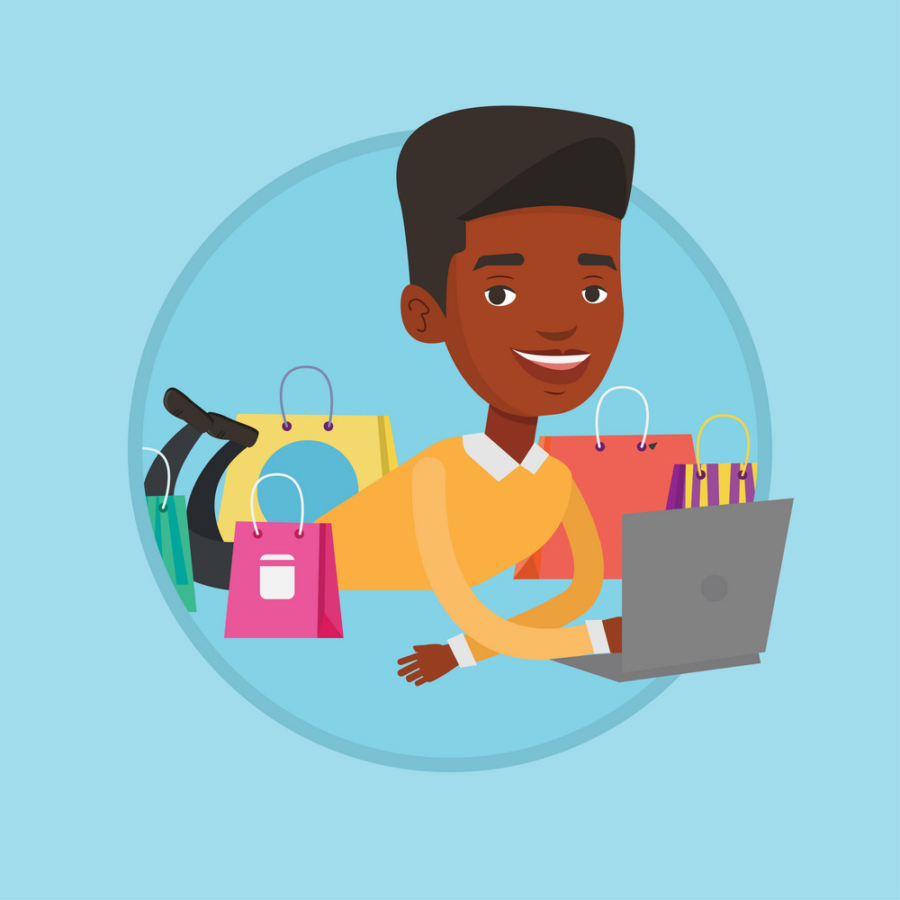 African man using laptop for online shopping. Man lying with laptop and making online shopping order. Man doing online shopping. Vector flat design illustration in the circle isolated on background.