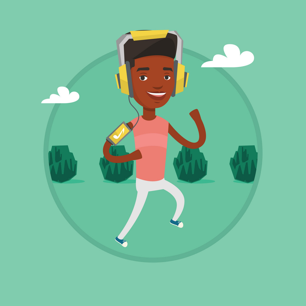 African man using smartphone to listen to music while running in the park. Man running with earphones and armband for smartphone. Vector flat design illustration in the circle isolated on background.