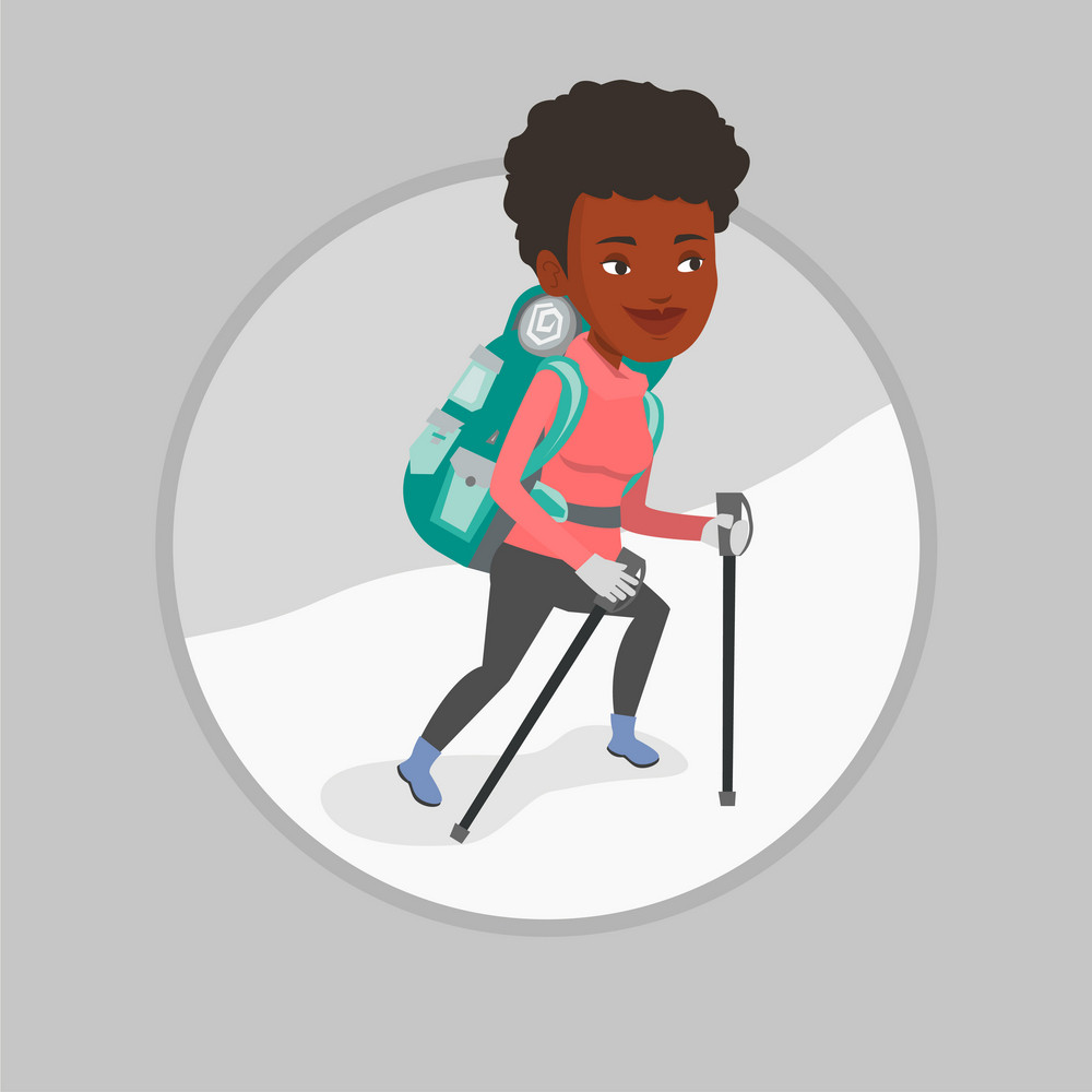 African mountaineer climbing a snowy ridge. Mountaineer climbing a mountain. Mountaineer with backpack walking up along a ridge. Vector flat design illustration in the circle isolated on background.