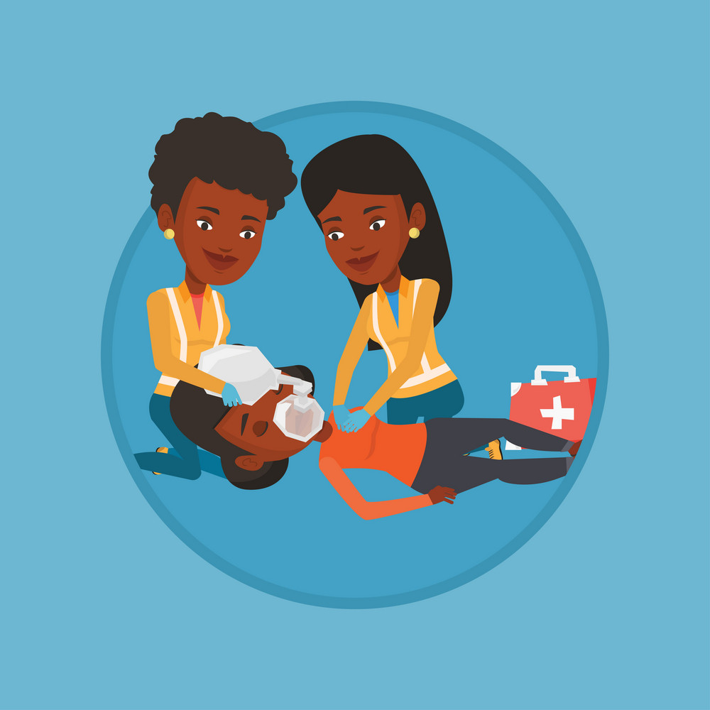 African paramedics doing cardiopulmonary resuscitation of a woman. Paramedics during process of resuscitation of injured woman. Vector flat design illustration in the circle isolated on background.