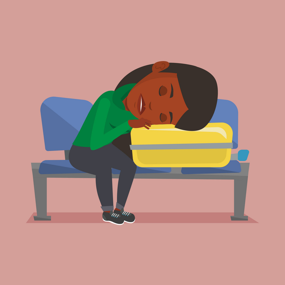 African passenger sleeping on luggage in airport. Exhausted woman sleeping on suitcase at airport. Woman waiting for flight and sleeping on suitcase. Vector flat design illustration. Square layout.