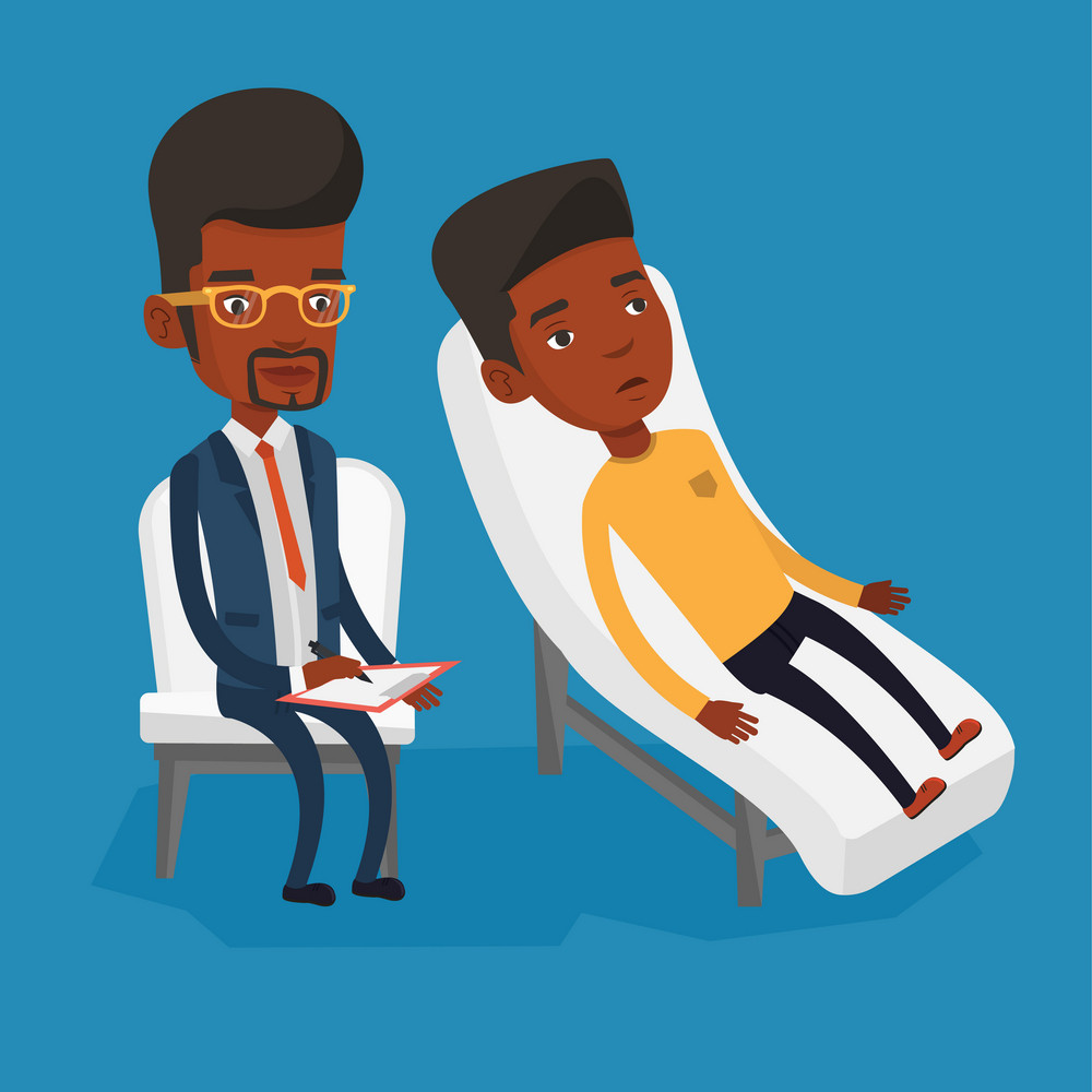 African patient lying on sofa and talking about problems with psychotherapist or psychologist. Psychologist having session with patient in depression. Vector flat design illustration. Square layout.