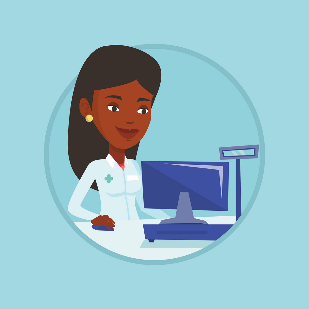 African pharmacist in drugstore. Pharmacist in medical gown standing at the pharmacy counter. Pharmacist working on a computer. Vector flat design illustration in the circle isolated on background.