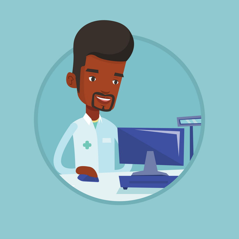 African pharmacist in medical gown standing at the pharmacy counter. Pharmacist in the drugstore. Pharmacist working on a computer. Vector flat design illustration in the circle isolated on background