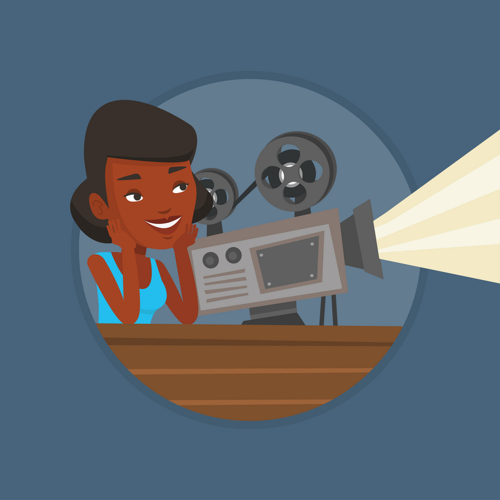 African projectionist showing film. Woman sitting near film projector in the room of projectionist. Young projectionist at work. Vector flat design illustration in the circle isolated on background.